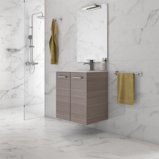 24″ High gloss white lacquered wall mounted vanity-2 Doors