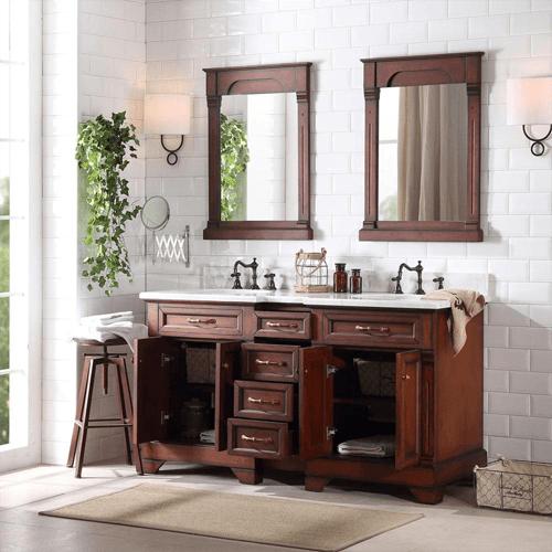 60 In Ine Double Vanity Cabinet, Mocha Bathroom Vanity