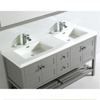 60 In. Double open shelf bathroom vanity Set