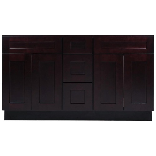 60 In Espresso Shaker Wood Vanity Double Sink And 3 Drawer Base Home Magic Llc