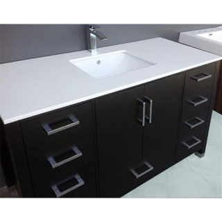 61 in. W x 22 in. D Engineered Quartz Vanity Top with White Single Trough Basin