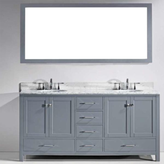 72 In. London Double Bathroom Vanity Set with Carrara White Top and Mirror