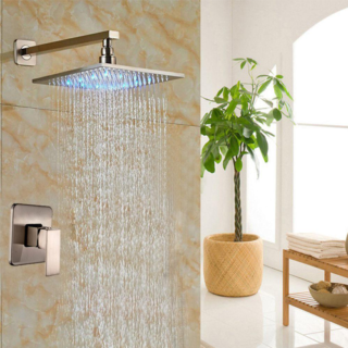 Modern LED Brushed Nickel 12″ Square Rainfall Shower Head with One-way Mixer Valve Tap
