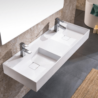 Double Modern Wall Mounted Bathroom Sink