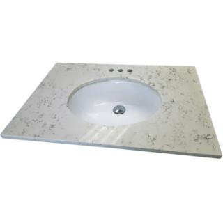Quartz Vanity Top in Carrara White with White Basin