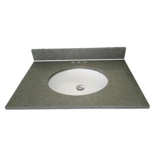 Quartz Vanity Top in Sparkling Gray with White Basin