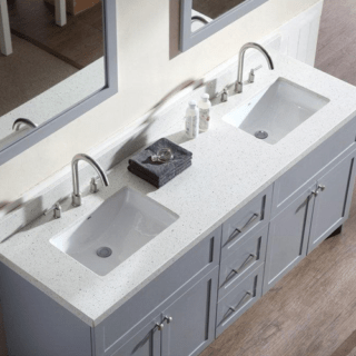 Quartz Vanity Top in Sparkling White with White Basin